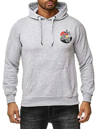 Rusty Neal Sweatshirt Hoody Sweater Backprint Delphin Sonne Wellen A1-RN-19106, Größe:M, Farbe:Grau