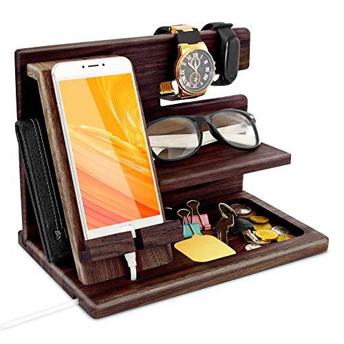 Geschenke für Männer, Wichtelgeschenk hölzerner Telefon-Dockingstation Schlüsselhalter Herren-Geldbörse Ständer Uhren Brillen Gadgets für Männer Geschenk-Box Aufbewahrungsboxen Abschluss Geschenke