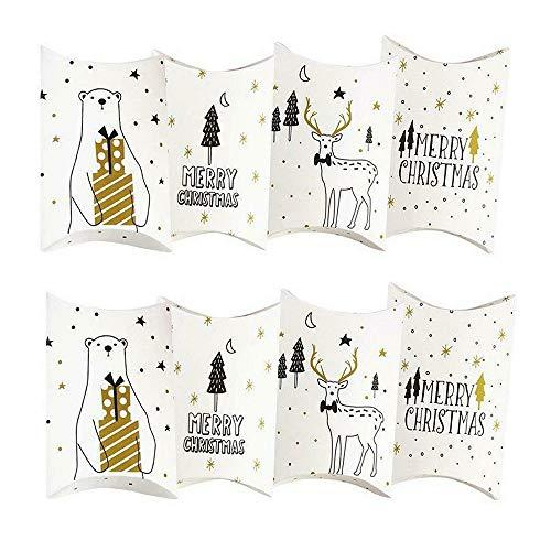 Sinwind - Calendario de Adviento para Rellenar Pillow, Color Blanco, 24 Cajas, 24 Pegatinas de números navideños para Dulces, Joyas, Frutos Secos, Chocolate.