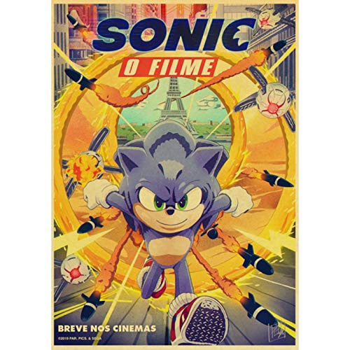 shuimanjinshan Movie Sonic the Hedgehog Retro Poster Prints Clear Image Room Bar Home Art Painting Wall Stickers 40x60cm No Frame HZ-1212