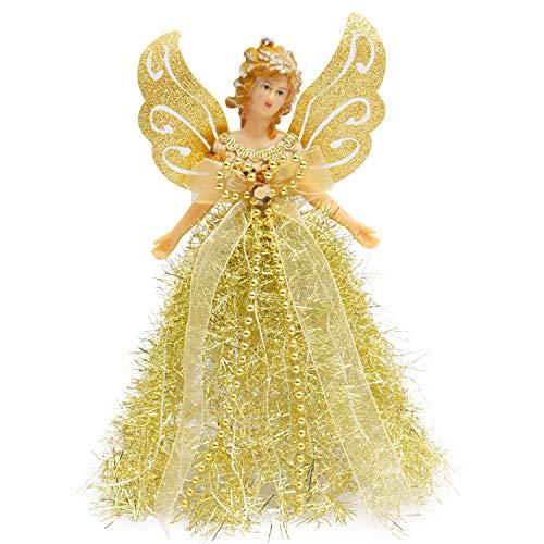 BELLE VOUS Weihnachtsengel Baumspitze - 20,5 x 8,2 cm Engel Figur Gold aus Plastik als Weihnachtsbaum Spitze Christbaumspitze Figuren - Tannenbaumspitze Baumschmuck Glitzer Engel Weihnachtsdeko