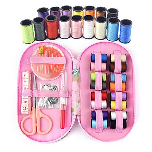 Kit de costura mini accesorios de costura, 16 bobinas de hilo con flor, caja de costura para principiantes, niños, viajeros, máquina de coser para adultos y niñas