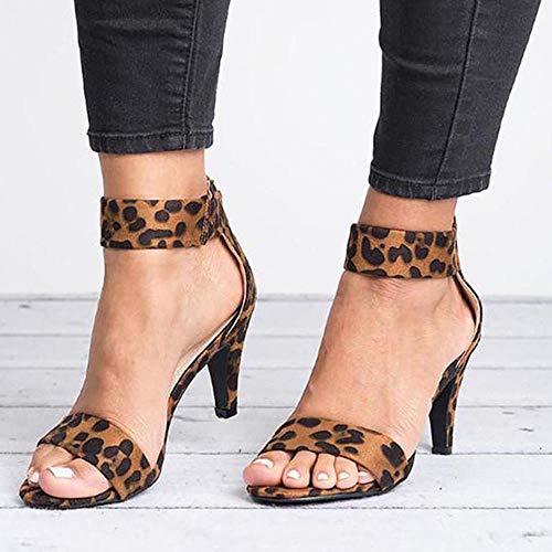 Mode Dames Sandalen Luipaardprint Dikke Hak Schoenen met hoge hakken zomersandalen dames sandalen met hoge hakken