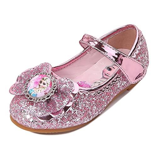 Eleasica Zapatos Bajos Planos para nias pequeas, Disfraz de Princesa Zapatos de Baile Brillantes, Retrato de Princesa Elsa Punta Cerrada, Adorno Lazo, Gran Regalo para Fiesta, Ceremonia de Boda