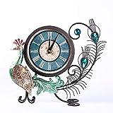 ZXZMONG Spiegel Wanduhr 7D,Wecker Dekoration Simulation Tier Pfau Wohnzimmer Uhr Ornamente Handwerk (Ohne Batterien)