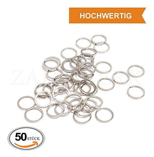 ZADAWERK® Schlüsselring-Set - Ø 30 mm - Silber - 50 Stück - Anhänger - Metall