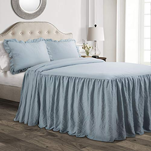 Lush Decor, Lake Blue Ruffle Skirt 2 Piece Bedspread Set, Twin