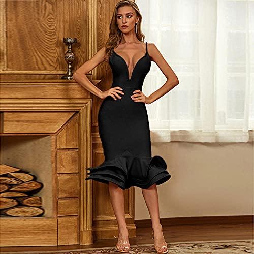 BLUSEZHUBA Vestidos De Fiesta Vestir Dress Mujer Niña Falda De Vendaje para Mujer Europa Y Estados Unidos Sexy Vestido con Top De Tubo Hueco Falda De Discoteca-4_M