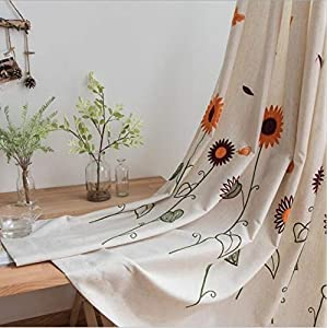 kengbi Durable Elegant Elements Draped and Aesthetic Pastoral Orange Sunflower Embroidered Curtains Blackout Kids Children Boys Nursery Window Treatment Blinds (Color : B, Size : Hook)