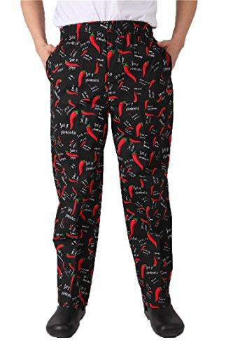 Pepper Chef Uniforms Kitchen Work Chef Pants XXS-2XL Size ((US) XX-Large, Pepper)