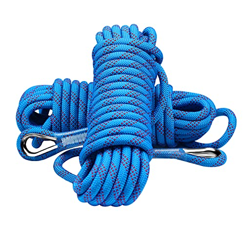 rock climbing ropes YOMEGO 10mm Outdoor Climbing Rope Nylon Heavy Duty Static Rope in 10M(32ft) 20M(64ft) 30M (96ft) for Rock Climbing,Escape, Rescue, Camping, Caving