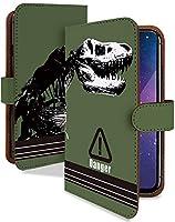 iPhone 12 ケース 手帳型 携帯ケース ティラノサウルス カーキ 骨 化石 リアル 緑 おしゃれ アイフォン アイフォーン アイホン スマホケース iPhone12 かっこいい 恐竜柄 カメラレンズ全面保護 カード収納付き 全機種対応 t0837-01973