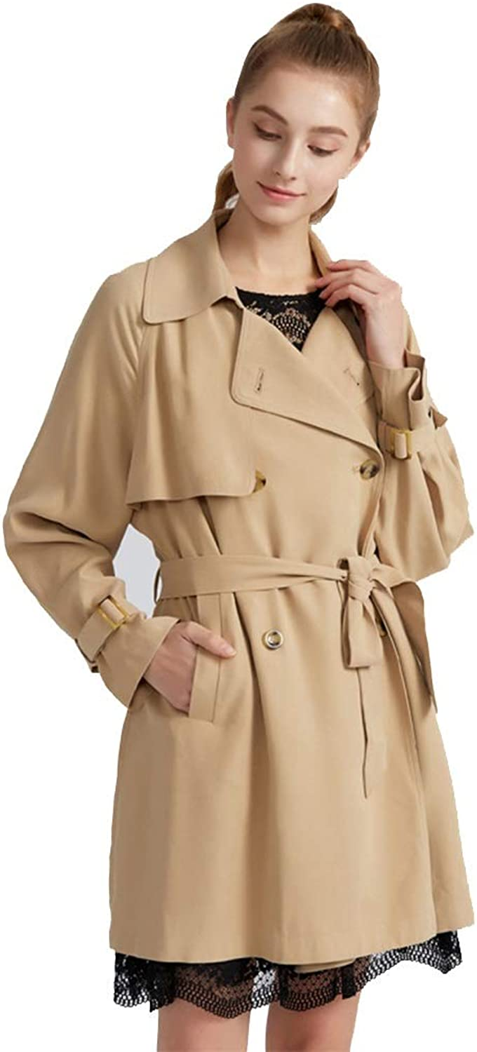Windbreakers Windbreaker midLength DoubleBreasted Trench Coat Ladies Loose Temperament Jacket Will Never be outdated Lightweight Jackets (color   Beige, Size   S)