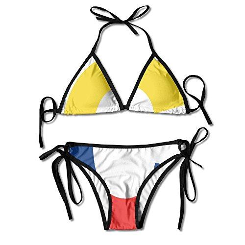 Colombia Flag C Letter Bikini Women's Summer Swimwear Triangle Top Bikinis Swimsuit Sexy 2-Piece Set