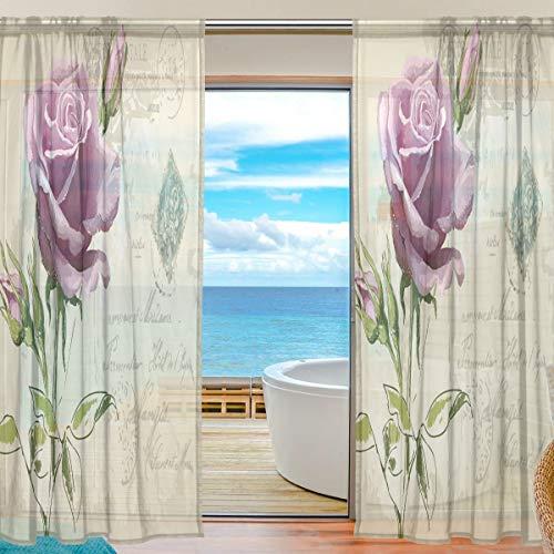 Mnsruu Cortinas de Ventana Transparentes para Sala de Estar Dormitorio Conjunto de 2 Paneles de Cortina de poliéster con Estampado de Flores de Rosas Hermosas de la Vendimia, 213x140cm