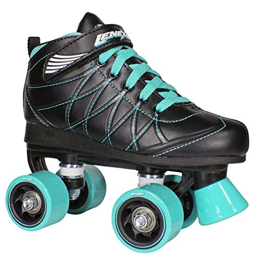 Lenexa Hoopla Kids Roller Skates for Kids Children - Girls and Boys - Kids Rollerskates - Childrens Quad Derby Roller Skate for Youths Boy/Girl - Kids Skates (Black w/Blue Wheels) (6)