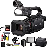 Panasonic AG-CX10 4K Camcorder with NDI/HX + Padded Case, Sandisk Extreme Pro 128 GB Memory Card, Wire Straps, LED Light, and More