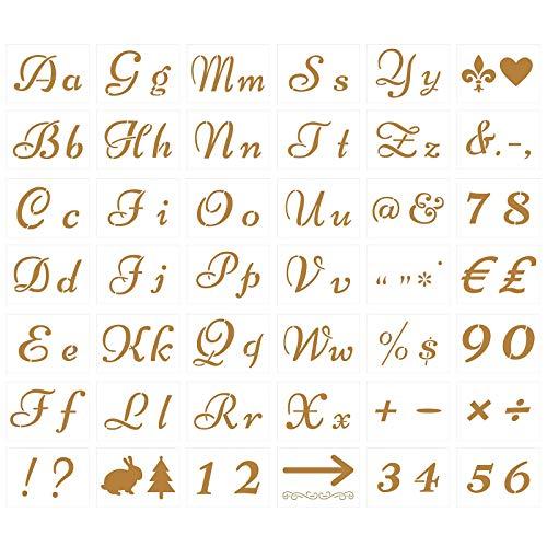 TAZAMAT 42 Stück Buchstaben Schablonen Zahlen Vorlage Alphabet Zeichen Kunststoff Briefschablonen zum Malen für DIY Holz Leinenstoff Kunsthandwerk Patydekor 21 * 15 cm