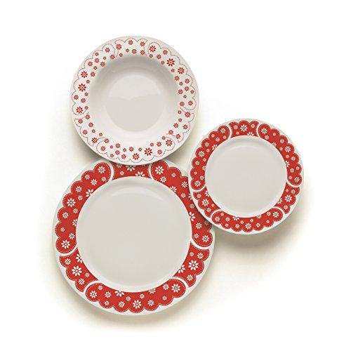Merry Christmas Excelsa - Servicio de vajilla England de 18 Piezas de Porcelana, Color Blanco/Rojo navideño