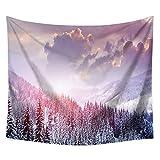 Tapiz de Bosque brumoso Tapiz de montaña brumosa Árbol mágico Colgante de Pared Decoración del hogar para Dormitorio Sala de Estar