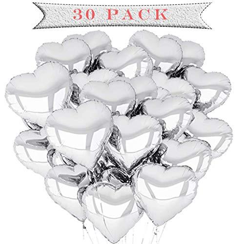 a ray of sunshine 30 Stück 18 Zoll Herzballons ,Herz Folienballon, Herzform Heliumballons für Party,Geburtstag,Valentinstag, Hochzeit, Verlobung,Muttertag Dekoration. (Silber)