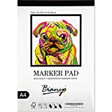 Bianyo Bleedproof Marker Paper Pad, A4(8.27inX11.69in), 50 Sheets, 70GSM,White