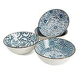 Ramen Bowl 40 Ounce Porcelain Bowls for Cereal, Salad, Soup, Pho, Dessert - Set of 4, Microwave...