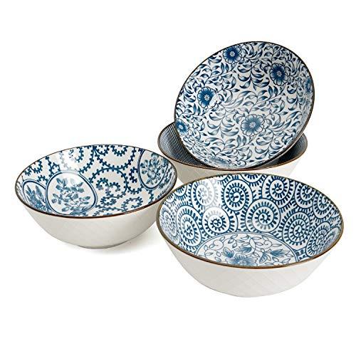 Ramen Bowl 40 Ounce Porcelain Bowls for Cereal, Salad, Soup, Pho, Dessert - Set of 4, Microwave Safe, Stackable, Blue and White, Assorted Patterns