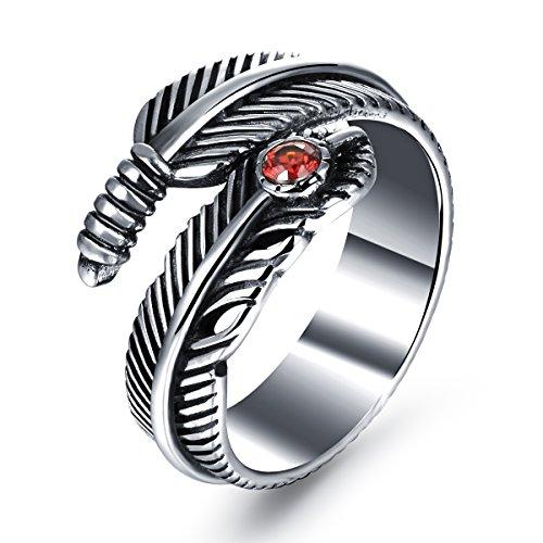 Envejecido para hombre ala rojo rubí de plumas de acero inoxidable gótico anillo de dedo banda Punk Rock Estilo