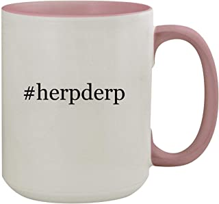 #herpderp - 15oz Hashtag Colored Inner & Handle Ceramic Coffee Mug, Pink