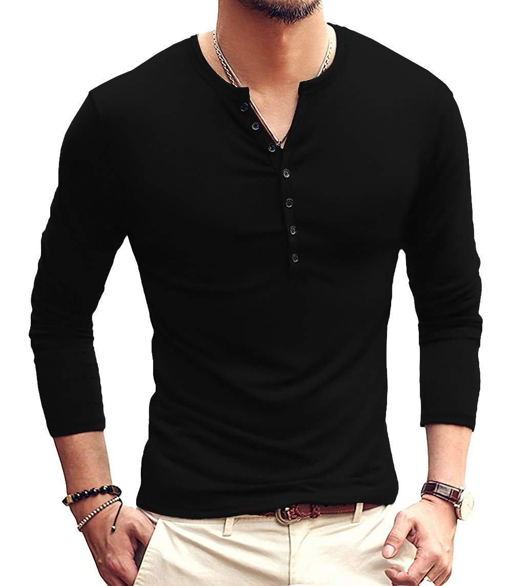 YTD Mens Casual Slim Fit Basic Henley Long Sleeve Fashion T-Shirt