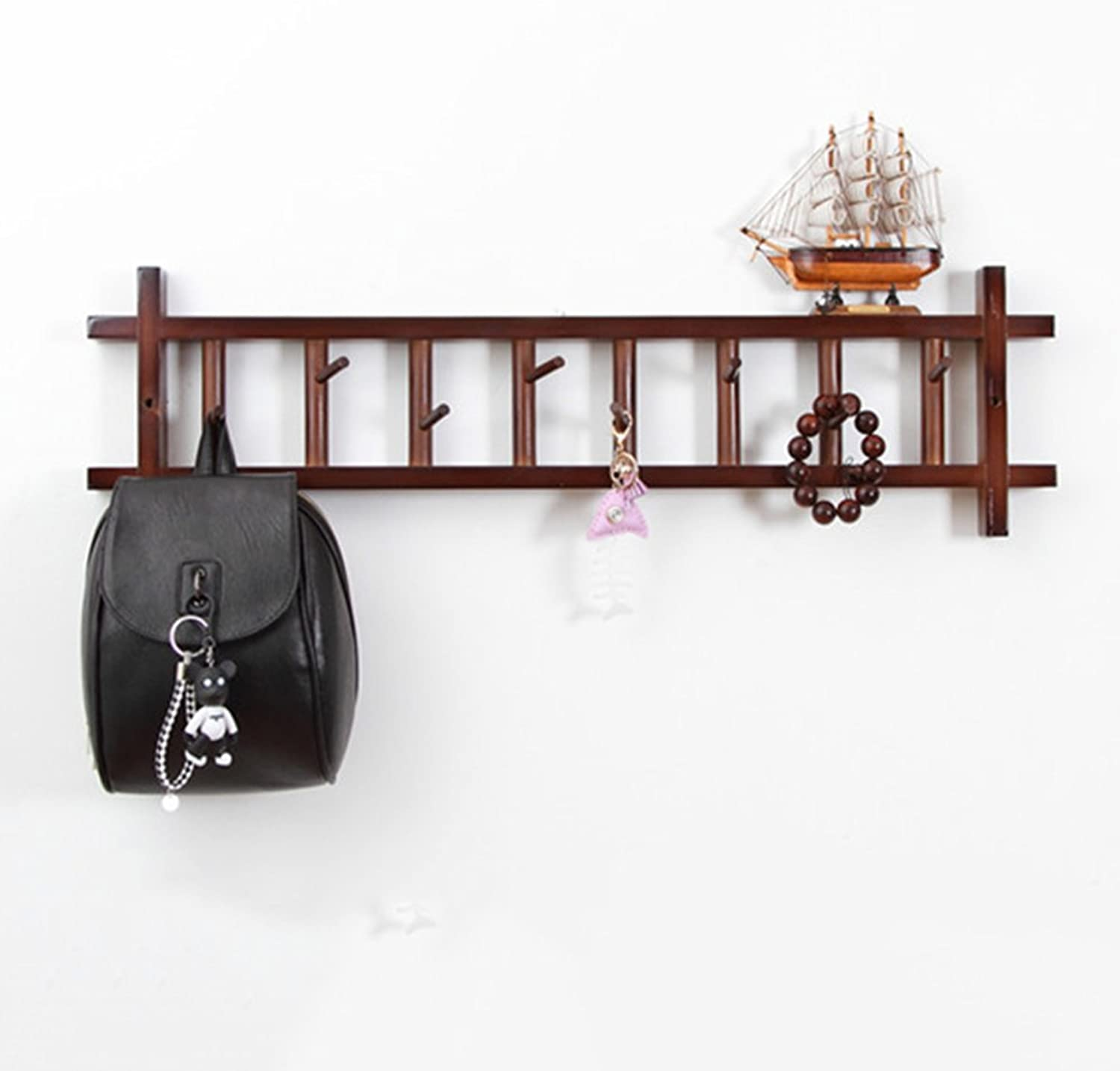JIANFEI Wall Coat Rack Clothes Hat Rectangle Frame More Hooks, Wood (color   Brown, Size   80  4  24cm)