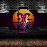 Cuadros Decor Salon Modernos 5 Piezas Lienzo Grandes XXL Murales Pared Hogar Pasillo Decor Arte Pared Abstracto HD Impresión Foto Regalo Demon Fumar Neon (Enmarcado)