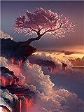 Ölgemälde zum Selbstkolorieren, Motiv: Rosa blühender Baum, mit Pinseln, 40,6 cm x 50,8 cm, als Dekoration oder Geschenkidee Rahmen