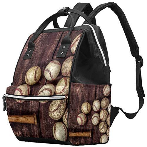 Mochila multifunción, grande para pañales de bebé, mochila de viaje para mamá y papá, fondo de béisbol vintage antiguo
