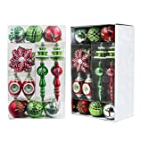 Valery Madelyn 50ct Classic Collection Splendor Shatterproof Christmas Ball Ornaments Decoration Red Green White,Themed with Tree Skirt(Not Included)