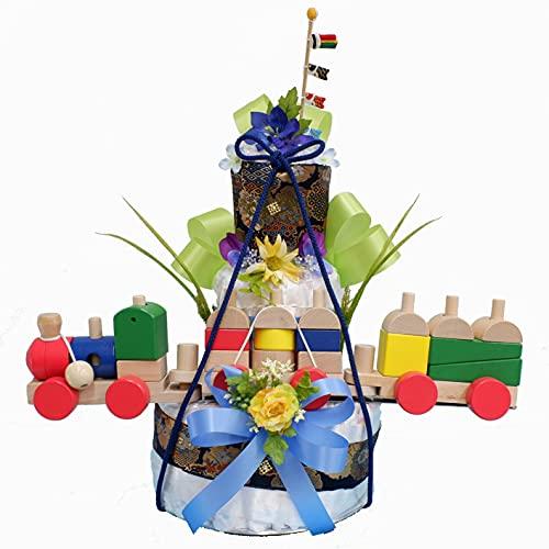 男の子初節句端午の節句■積み木列車付き】豪華3段オムツケーキ。出産祝いに。鯉のぼりを飾った和調おむつケーキ 【おむつケーキ オムツケーキ 出産祝い こどもの日お節句祝い】