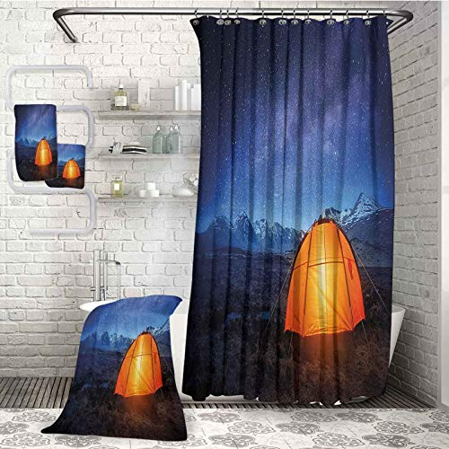 Camper Handkerchiefs 100% Soft Cotton 4-Piece Bathroom Set A Tent Glows Under Night Sky Full of Stars Exploring Universe Life Picture Highly Absorbent Light Weight for Parties and Guests (W72 xL72)