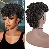 YITI Short Afro Curly Drawstring Ponytail With Bangs Hairpieces for Black Women,Mohawk Ponytail Drawstring Kinky Curly Faux Hawk Ponytail Clip in Wrap Updo Hair Extensions with Six Clips(2#)