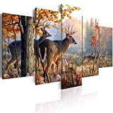 ArtHome520 Deer Canvas Rustic Wall Art Canvas Print Landscape Painting Ready to Hang Living Room Home Decor Animal (Over Size 40'' x 20'')