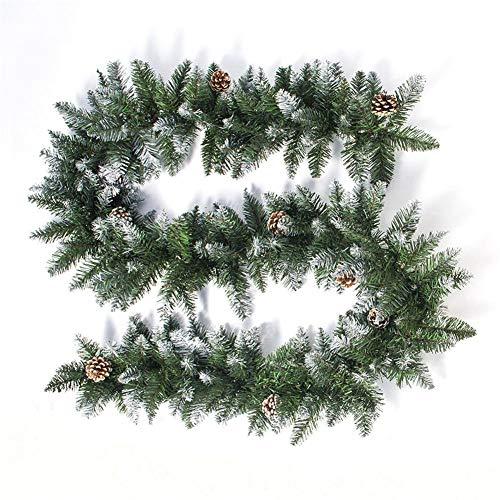jinclonder 2020 Christmas Rattan Puerta y Ventana Decoración de Cono de Pino, Ramas de Abeto Guirnalda Decorativa para Puerta Ventana Pared Porche Revestimiento