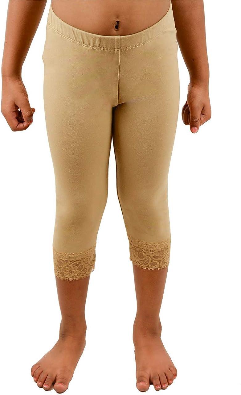 Vivian's Fashions Capri Leggings - Lace Lowest price challenge Raleigh Mall Cotton Girls Trim