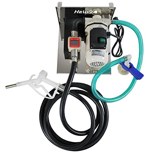 Helo AD-Blue Pumpe Tankstelle selbstansaugend 50l/min Förderleistung, digitales Zählwerk, Förderpumpe im Set inkl. Zapfpistole mit 4m Abgabeschlauch, IBC-Container Halterung und Schlauch Adapter