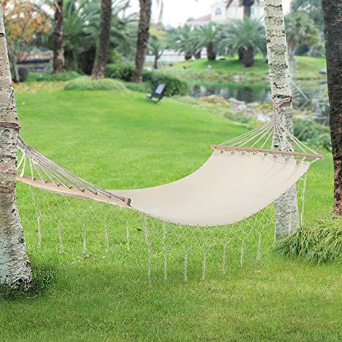 [casa.pro]® Hängematte bis 150 kg Hängeliege für Innen und Außen Stabhängematte Camping Outdoor 200x80cm Creme
