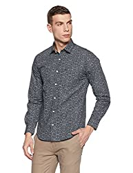 Peter England Mens Printed Slim Fit Cotton Casual Shirt