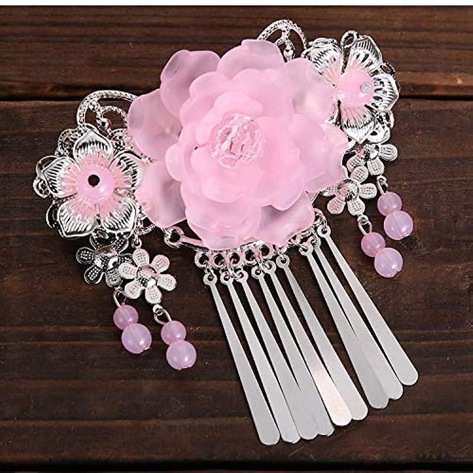 ヘビストレスの多いおもしろいHuaQingPiJu-JP 手作りの花のタッセルヘアピンヴィンテージ中華スタイルのヘアアクセサリー(ピンク)