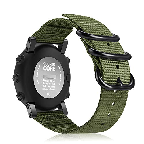 Fintie Watch Band Compatible with Suunto Core, Premium Woven Nylon Replacement Sport Strap with Metal Buckle Compatible with Suunto Core Smart Watch, Olive