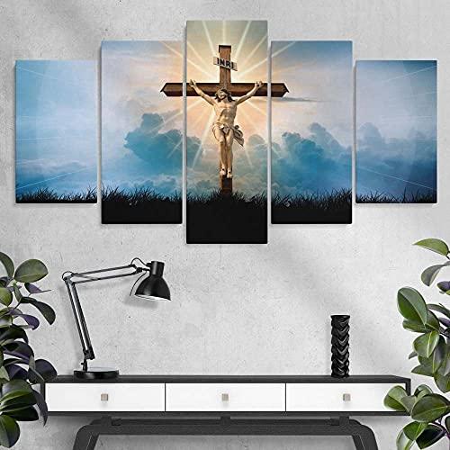 WKXZZS Quadro Moderno 5 Pannelli Jesus Crucification Canvas Painting,5 Pezzi Quadri Moderni Dipinti Foto per Soggiorno Camera da Letto Divano TV Sfondo Gym Home Decor