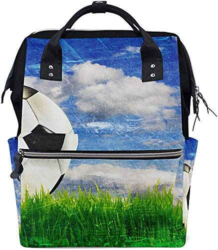 Mummy Backpack Football Diaper Nappy Bag Mummy Backpack Care Baby Stylish Print Dad Plus Grande Capacité Mummy Bag Sac À Dos Étanche Mom Tote Bags Muti-Function Travel