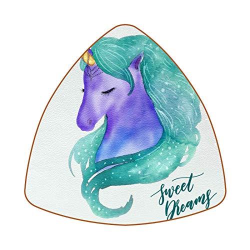 Posavasos triangulares para bebidas, diseño de unicornio de acuarela con dulces sueños de cuero, para proteger muebles, resistente al calor, decoración de bar de cocina, juego de 6